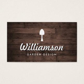 Serviços de jardinagem da madeira rústica branca cartão de visitas