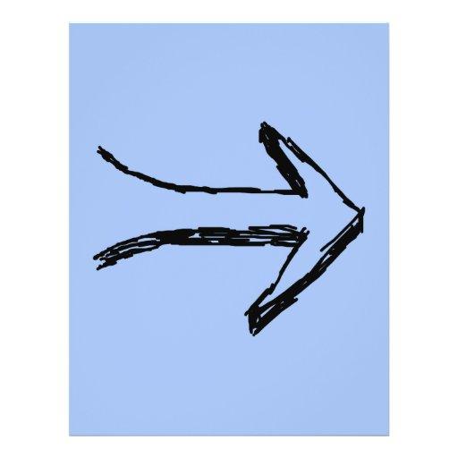 Seta que apontam certo, preto e azul modelo de panfleto