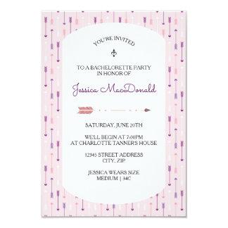 Setas cor-de-rosa - convite da festa de solteira