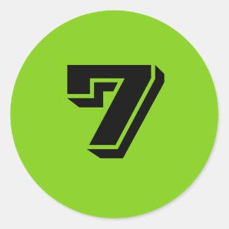 Sete grandes etiquetas verdes redondas do número