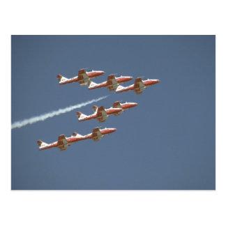 Sete Snowbirds em vôo Cartão Postal