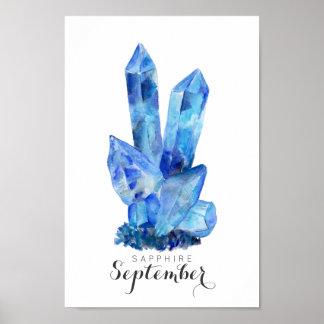 Setembro Birthstone - poster da aguarela | da