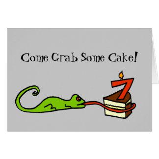 Sétimo convite de festas do lagarto do aniversário
