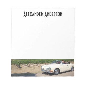 Seu auto e nome feito sob encomenda bloco de notas