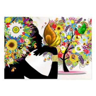 Seu cartão de visita - perfil floral da borboleta