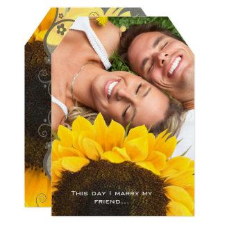 Seu convite do casamento da foto com girassol