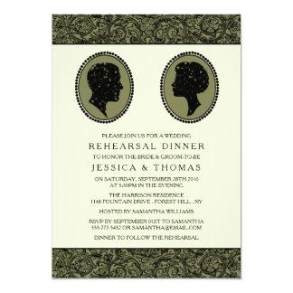 Seu & dela jantar de ensaio da silhueta do art convite 12.7 x 17.78cm