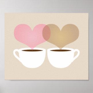 Seu e meus canecas de café no impressão da arte do