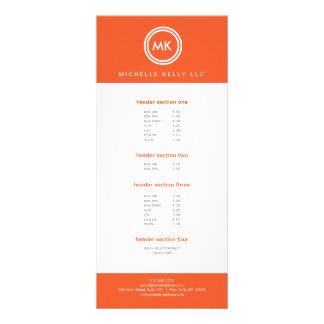 SEU LOGOTIPO das INICIAIS no cartão da cremalheira 10.16 X 22.86cm Panfleto