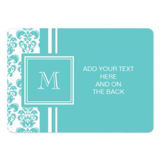 Seu monograma, cor damasco 2 da cerceta cartão de visita grande