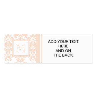 Seu monograma, cor damasco cor-de-rosa 2 da carne cartões de visita
