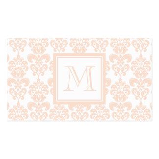 Seu monograma, cor damasco cor-de-rosa 2 da carne cartões de visitas