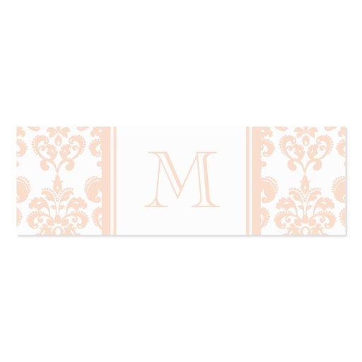 Seu monograma, cor damasco cor-de-rosa 2 da carne cartão de visita