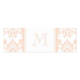Seu monograma, cor damasco cor-de-rosa 2 da carne cartão de visita skinny