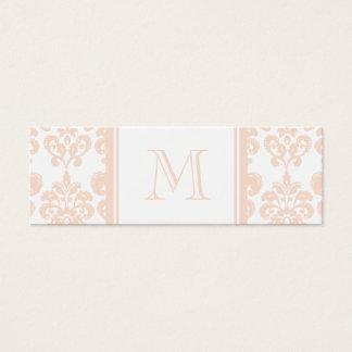 Seu monograma, cor damasco cor-de-rosa 2 da carne cartão de visitas mini