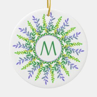Seu monograma em um ornamento botânico do quadro