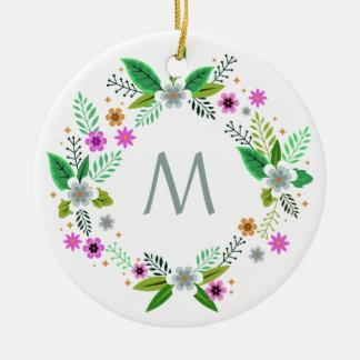 Seu monograma no ornamento do quadro da flor