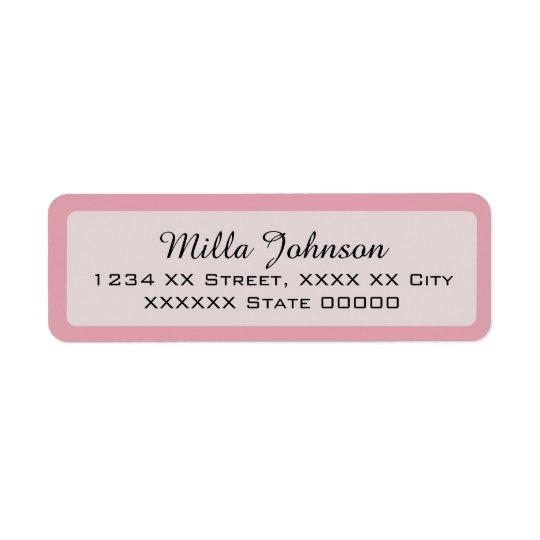 seu nome com beira cor-de-rosa etiqueta endereço de retorno