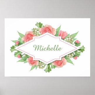Seu nome em um poster do costume do quadro da flor