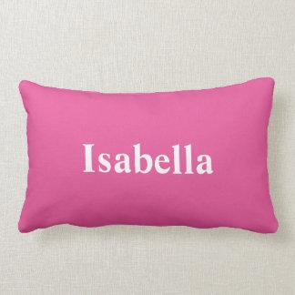 Seu nome em um travesseiro cor-de-rosa brilhante almofada lombar