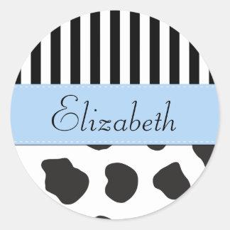 Seu nome - impressão da vaca, listras - azul adesivo em formato redondo