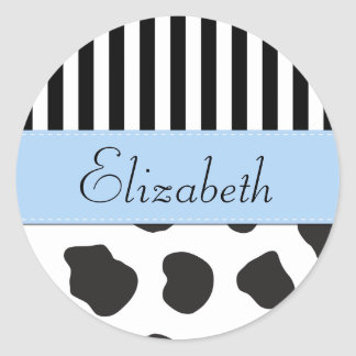 Seu nome - impressão da vaca, listras - azul branc