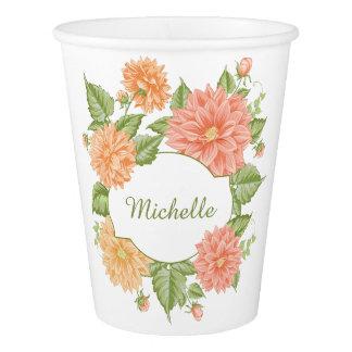 Seu nome nos copos de papel de um quadro da flor