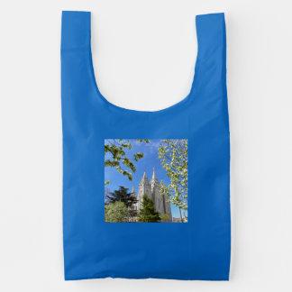 Seu saco reusável do costume BAGGU, templo azul de