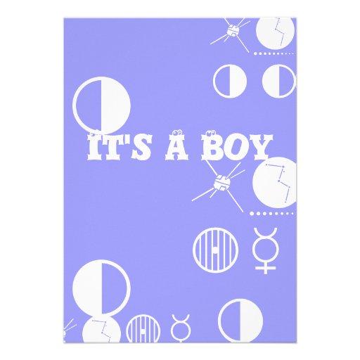 Seu um menino. Cartão azul e branco Convites Personalizados