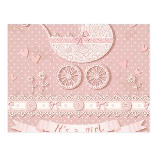 Seu uma menina, anúncio recém-nascido do bebé, cartão postal