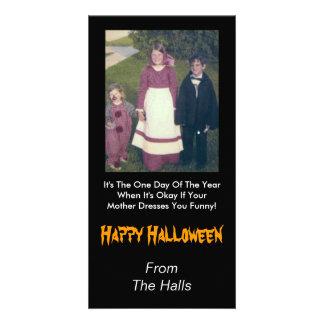 Seu vestido da mãe você Dia das Bruxas engraçado Cartão Com Fotos