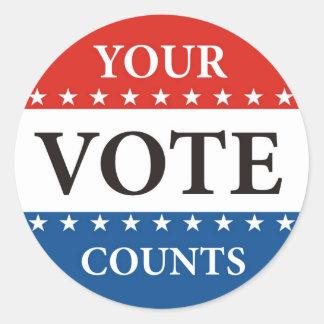 seu voto conta a política das eleições do adesivo