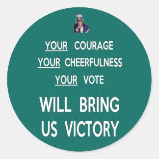 Seu voto trar-nos-á a vitória adesivo redondo