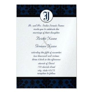 Seus marinho da foto & casamento tema damasco convite 12.7 x 17.78cm