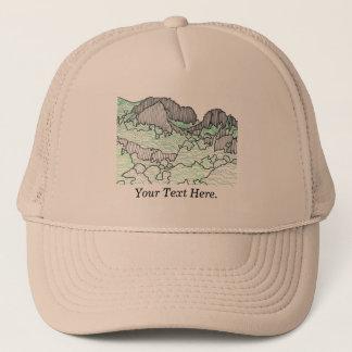 Seus montanhas do texto e a lápis chapéus das boné