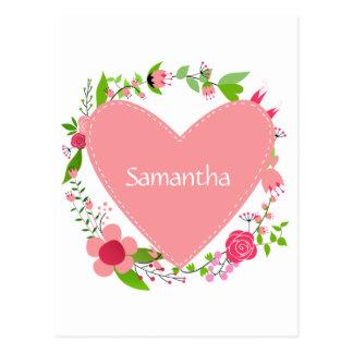 Seus nomes em um cartão do costume do coração