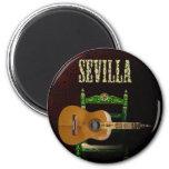 Sevilla Guitarra española con Giralda de Sevilla Ímã Redondo 5.08cm