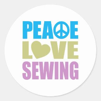 Sewing do amor da paz adesivo em formato redondo
