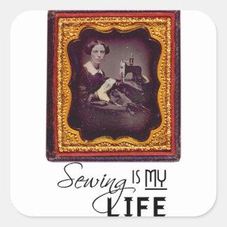 Sewing é minha vida adesivo quadrado