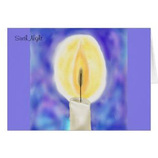 Sexto cartão de Hanukkah da noite