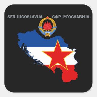 SFR Jugoslávia - mapa - emblema - etiqueta da