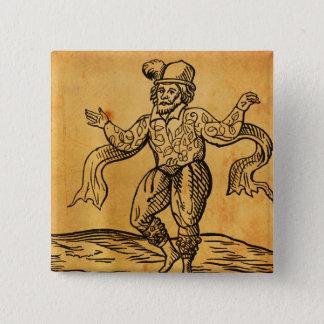 Shakespeare botão do quadrado do Woodcut de Kempe Bóton Quadrado 5.08cm