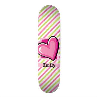 Shape De Skate 18,1cm Coração bonito em listras do rosa & do verde limão