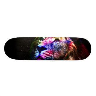 Shape De Skate 18,1cm Leão do espaço - leão colorido - arte do leão -