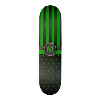 Shape De Skate 18,1cm Listras do verde limão e do preto das bolinhas