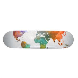 Shape De Skate 18,1cm Mapa do mundo na aguarela