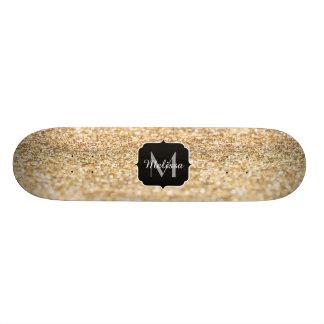 Shape De Skate 18,1cm Monograma bonito dos sparkles do brilho do ouro do