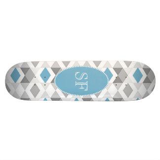 Shape De Skate 18,1cm Monograma Funky do diamante das cinzas azuis