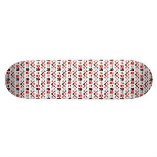 Shape De Skate 18,4cm Crânio cómico com teste padrão colorido cruzado