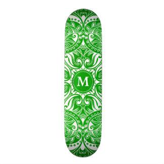 Shape De Skate 18,4cm Mandala do verde limão e do branco - monograma